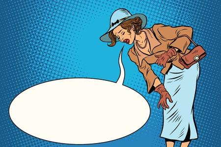 vómito: Mujer vómitos burbuja opinión cómico retro hermoso. arte pop dibujo ilustración vectorial