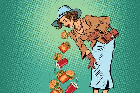 vómito: Mujer retro vómitos de comida rápida. Cómica arte pop dibujo ilustración vectorial. Alimentación saludable