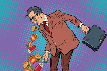 vómito: Hombre de comida rápida enfermo. Ilustración pop art vector vintage retro Vectores