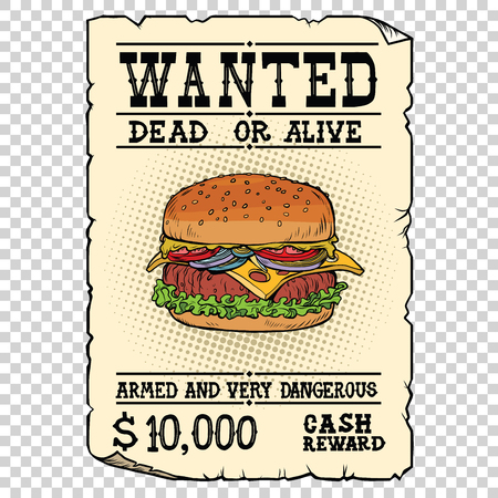 Burger fast food wanted dead or alive Stok Fotoğraf