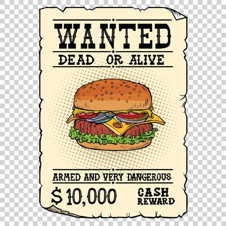 Burger Fast Food wollte tot oder lebendig Standard-Bild - 71448531