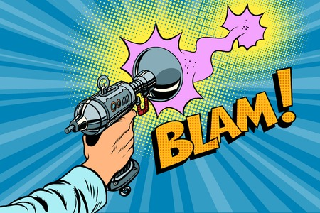 blaster: Blam Science fiction shot of a Blaster comic cloud. Vintage comics pop art retro color illustration Illustration