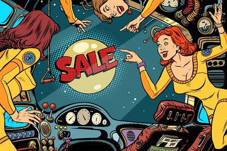 Sale and Women astronauts in the cabin of a spaceship looking ou