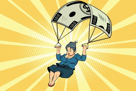 dismissal: Woman Golden parachute financial compensation in the business. Comic book vintage pop art retro style illustration vector Illustration