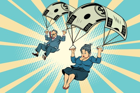 dismissal: Golden parachute financial compensation in the business. Businessman and businesswoman jumping down. Comic book vintage pop art retro style illustration vector