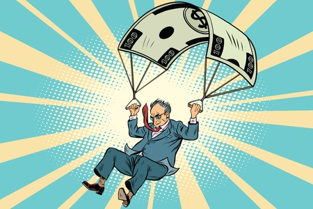 Retired Golden parachute financial compensation in the business. Comic book vintage pop art retro style illustration vector Stock Vector - 72896241