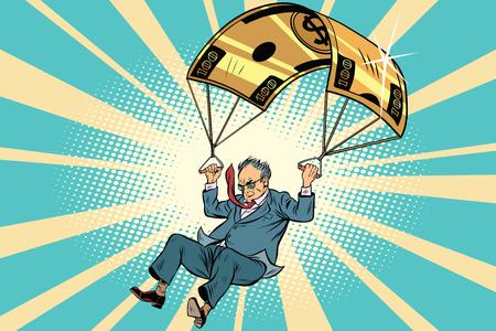 Senior citizen Golden parachute financial compensation in the business. Comic book vintage pop art retro style illustration vector Illustration