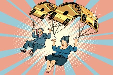 reduce risk: Golden parachute financial compensation in the business. Comic book vintage pop art retro style illustration vector