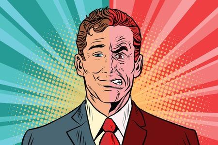 Bad good man. Human emotions. Vintage comics cartoons illustration pop art retro vector  イラスト・ベクター素材