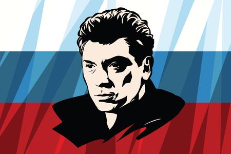 statesman: Opposition politician Boris Nemtsov, the Russian flag Stock Photo