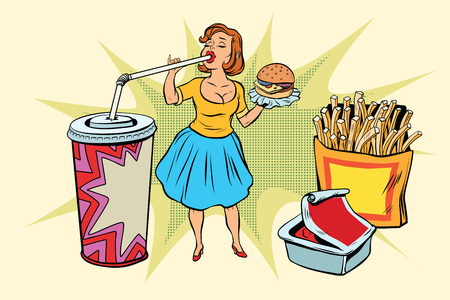 Pop art woman and fast food. Retro comic book style retro illustration color vector