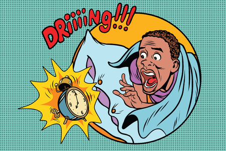 Man wakes up alarm clock. Retro comic book style pop art retro illustration color vector. African American people Illusztráció