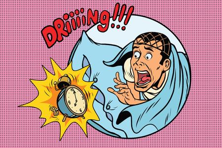 Man wakes up alarm clock. Retro comic book style pop art retro illustration color vector