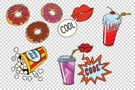 sweet fast food set for the movie. A neutral background. Retro comic book style pop art retro illustration color vector Stok Fotoğraf