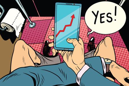 L'homme dans les toilettes regarde les indicateurs d'affaires. Illustration de couleur rétro vintage pop art comique Banque d'images - 75339748