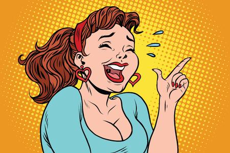 涙と笑いの若い女性は、指を指しています。コミック漫画イラスト ポップ アート レトロ