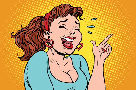 Young woman laughing with tears, points a finger. Comic cartoon illustration pop art retro vector Vettoriali