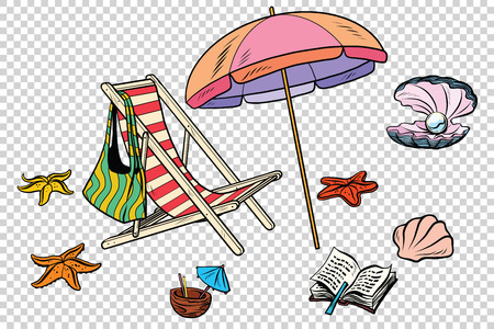 Beach set tourism and leisure on the sea isolate. Comic cartoon illustration pop art retro vector Illustration