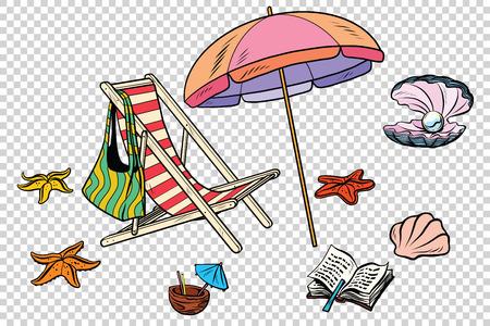 noix saint jacques: La plage définit le tourisme et les loisirs sur l'isolement de la mer. Illustration dessinée dessin animé pop art rétro vecteur