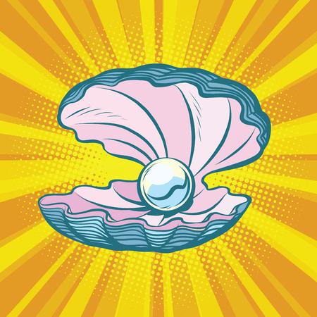真珠と貝殻をオープン。海の宝物、宝石。コミック漫画イラスト ポップ アート レトロ