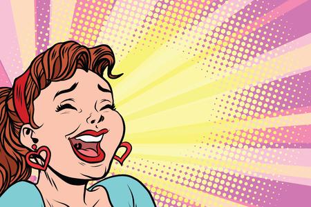 Giovane donna ride, manifesto in stile pop art. Illustrazione fumetto fumetto vettoriale retrò Vettoriali
