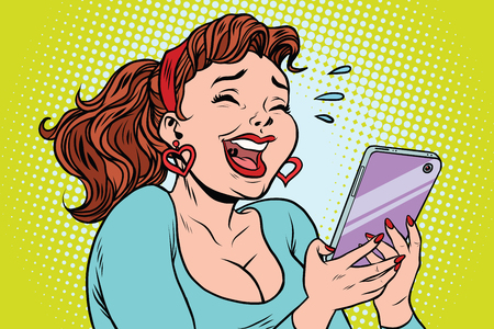 Comic girl laughing to tears reading a smartphone. cartoon illustration pop art retro vector