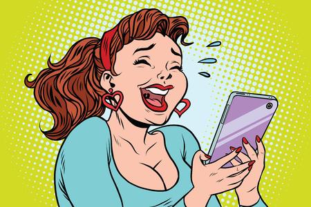 Comic girl laughing to tears reading a smartphone. cartoon illustration pop art retro vector