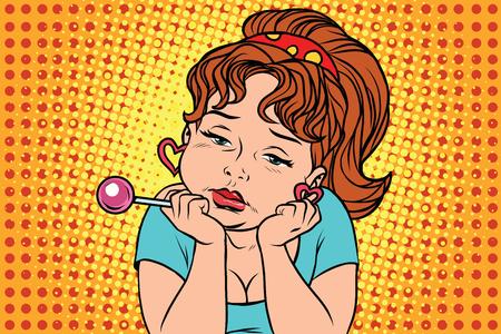 Very sad vintage girl with Lollipop. Comic cartoon illustration pop art retro vector