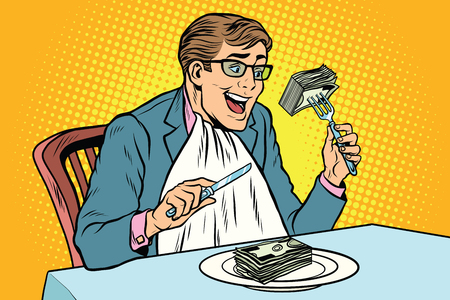 Businessman eating money. Comic book illustration pop art retro color vector Иллюстрация