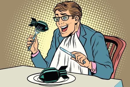 Politician eats the bomb, concept of war and peace. Comic book illustration pop art retro color vector