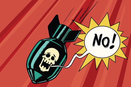 no nuclear: Bomb with skull of the skeleton scream no. Comic book illustration pop art retro color vector. Nuclear war, military conflict