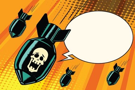 Mass bombing, shouting no skeleton. Comic book illustration pop art retro color vector