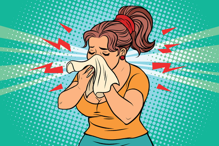 The woman is sick, runny nose and handkerchief. Comic book illustration pop art retro color vector 일러스트