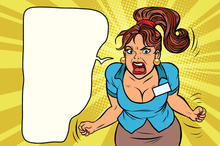 Businesswoman shouting, rage and anger. Comic book illustration pop art retro color vector