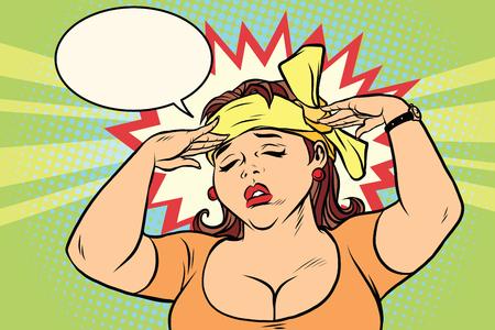 頭痛を持つ若いレトロな女性。コミック イラスト ポップ アート レトロ色