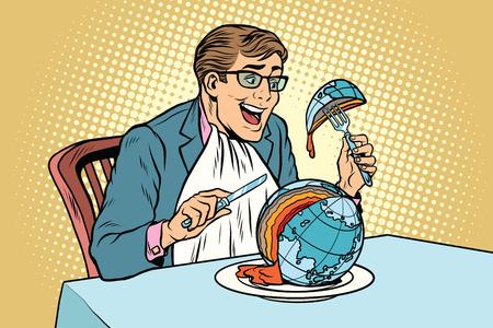 정치인이 행성을 먹는다. 만화 그림 팝 아트 복고 색 벡터입니다. 글로벌 비즈니스. 세계의 생태와 평화