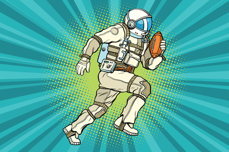 Astronaut athlete American football. Comic book illustration pop art retro color vector
