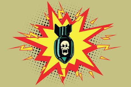 The atomic bomb and skeleton Stock Photo