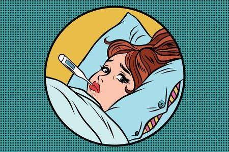 Sick young woman lying in bed with thermometer. High temperature. Medicine and health care. Epidemic. Comic book illustration pop art retro color vector
