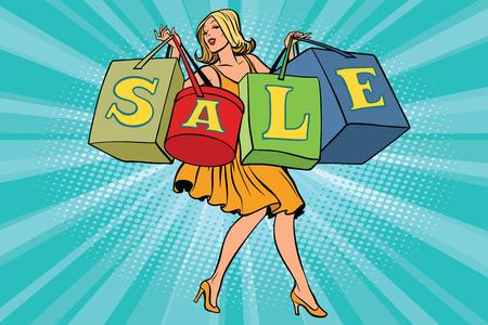 Blonde vrouw met boodschappentassen verkoop. Comic book cartoon popart retro stijl vectorillustratie