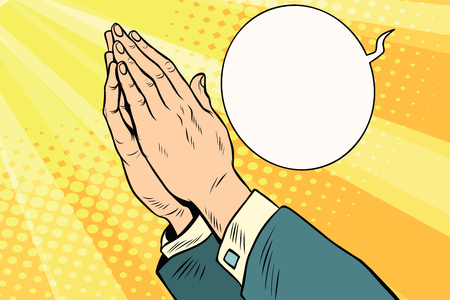 orison: Men hands in prayer. Religion and faith. Comic book cartoon pop art retro style vector illustration