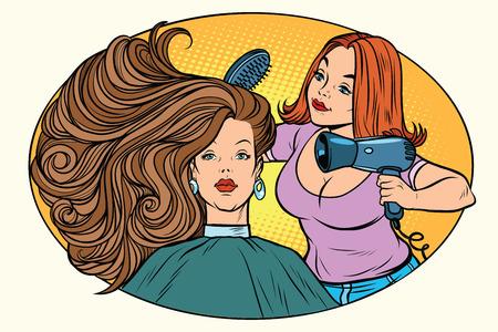 Pelo de secado de mujeres barbero. Cómic dibujos animados pop art retro estilo ilustración vectorial Ilustración de vector