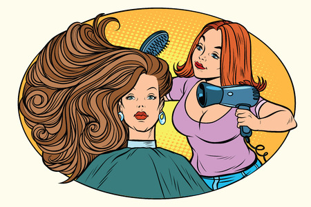 blow drying women hair Barber. Comic book cartoon pop art retro style vector illustration Illustration