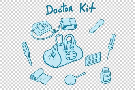 doctor kit medical instruments and medicines. Comic book cartoon pop art retro style vector illustration