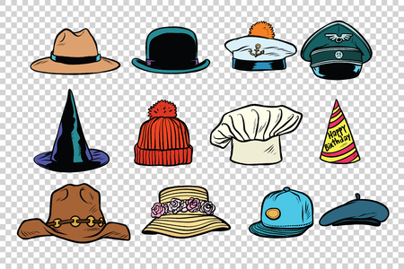 Hat set collection on isolated background. Comic book cartoon pop art retro style vector illustration Illustration