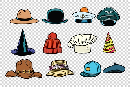 Hat set collection on isolated background Imagens - 77315835