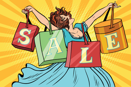 Woman with sale bags shopping. business and the buyer. Comic cartoon style pop art vector retro illustration