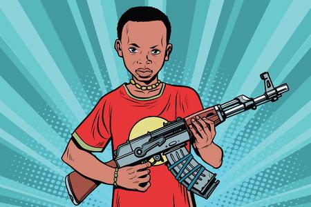 AKM 自動小銃を持つアフリカの少年。コミック漫画スタイル ポップ アート ベクトル レトロなイラスト