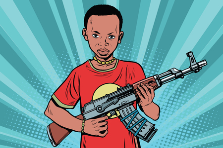 African boy with AKM automatic weapons. Comic cartoon style pop art vector retro illustration Vectores