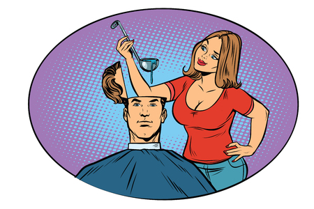 Wife husband prepares soup in his head. The concept of hunger and thoughts. Comic cartoon style pop art vector retro illustration